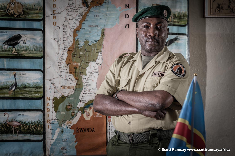 "Innocent Mburanumwe, warden of the ""gorilla section"" of Virunga National Park, in Democratic Republic of Congo"