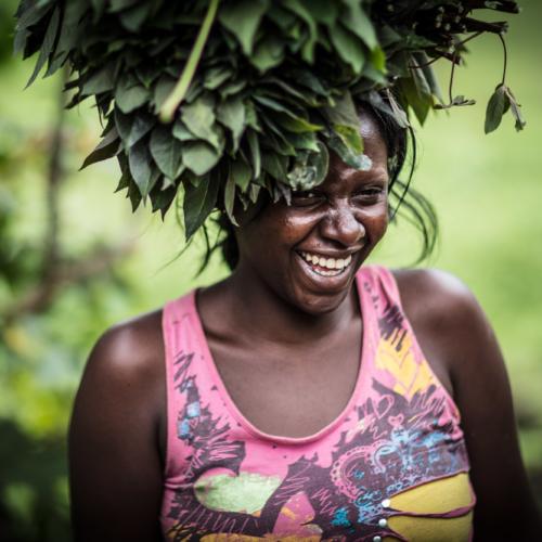 Pascaline Bavukahe and cassava leaves, near Virunga National Park, DRC
