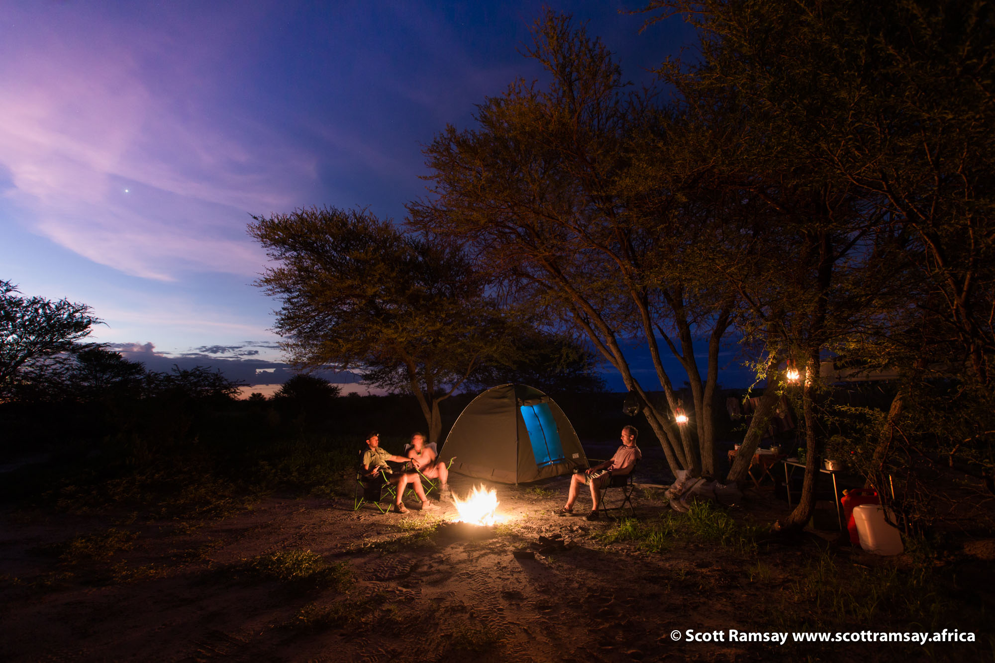 Sitting under a camelthorn tree in the Central Kalahari, next to a fire, with friends, as Venus pops up and the sky turns pscyhedelic with colour. Lions roaring nearby, barn owl screeching in the distance, lamb chops on the braai, and a cold beer in my hand...everything is just fine with the world!