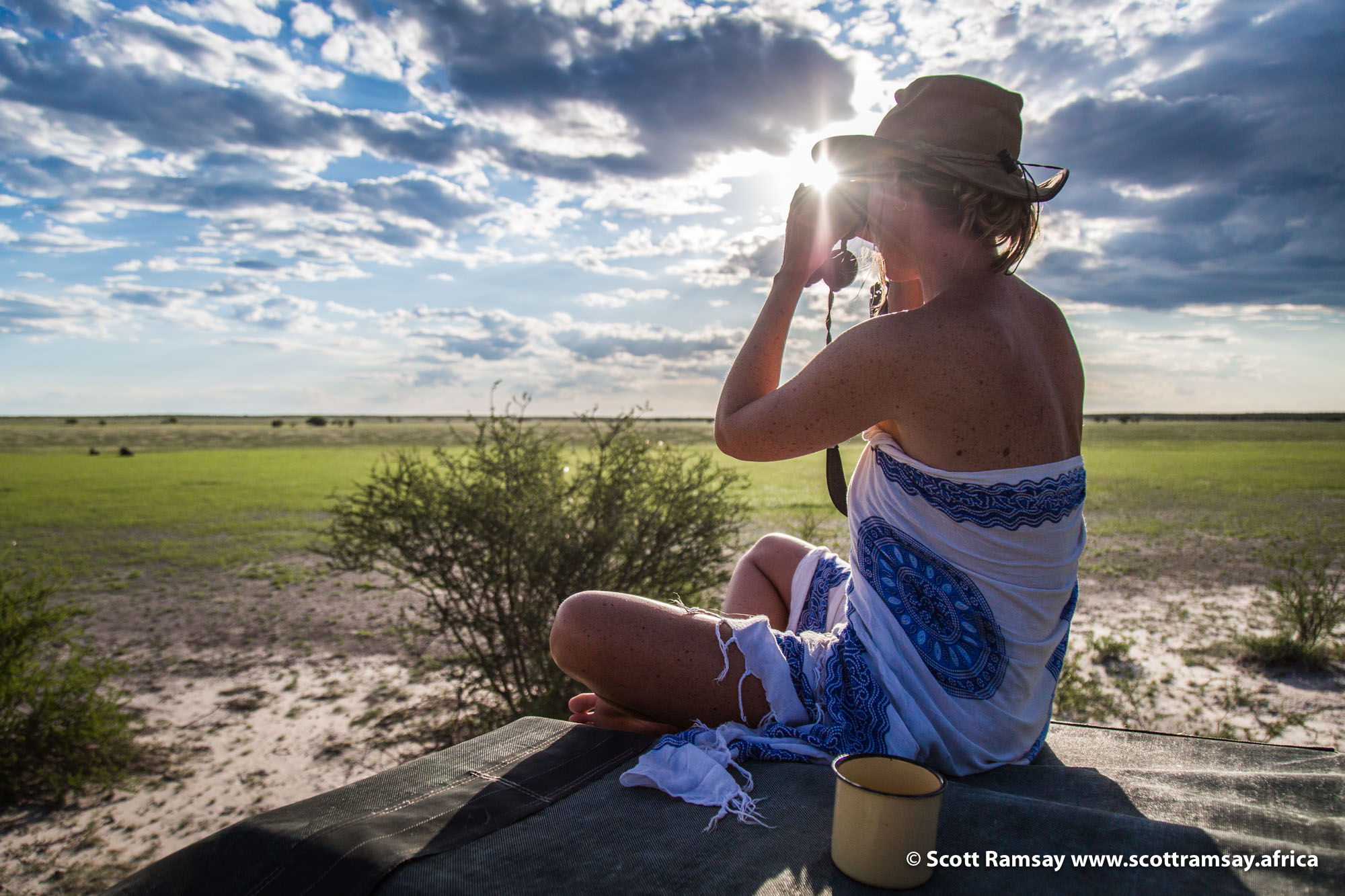 Joni checking out the lions and the general epicness of the Kalahari's incredible summer light that makes sunsets and sunrises so dreamy...