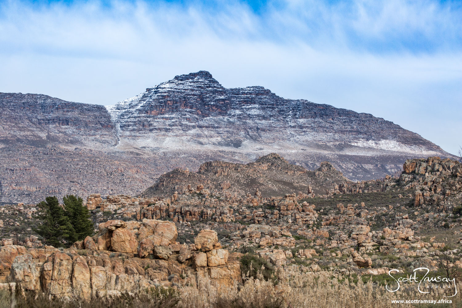 """Sneeuberg - meaning """"snow mountain"""" in Afrikaans - is suitably decorated with snowfall after the cold winter of 2020."""