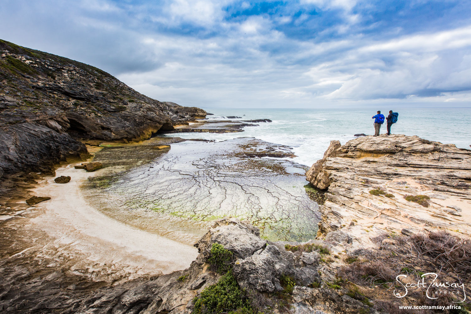 The coastline of De Hoop is varied and diverse. These limestone cliffs are near Vaalkrans Hut