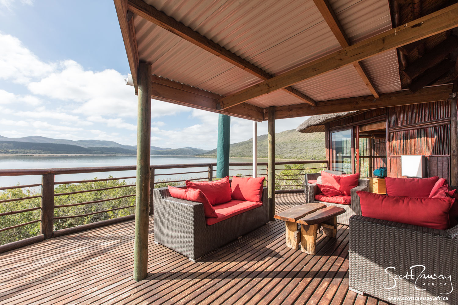 The deck at Mvubu Lodge, looking out over Groenvlei