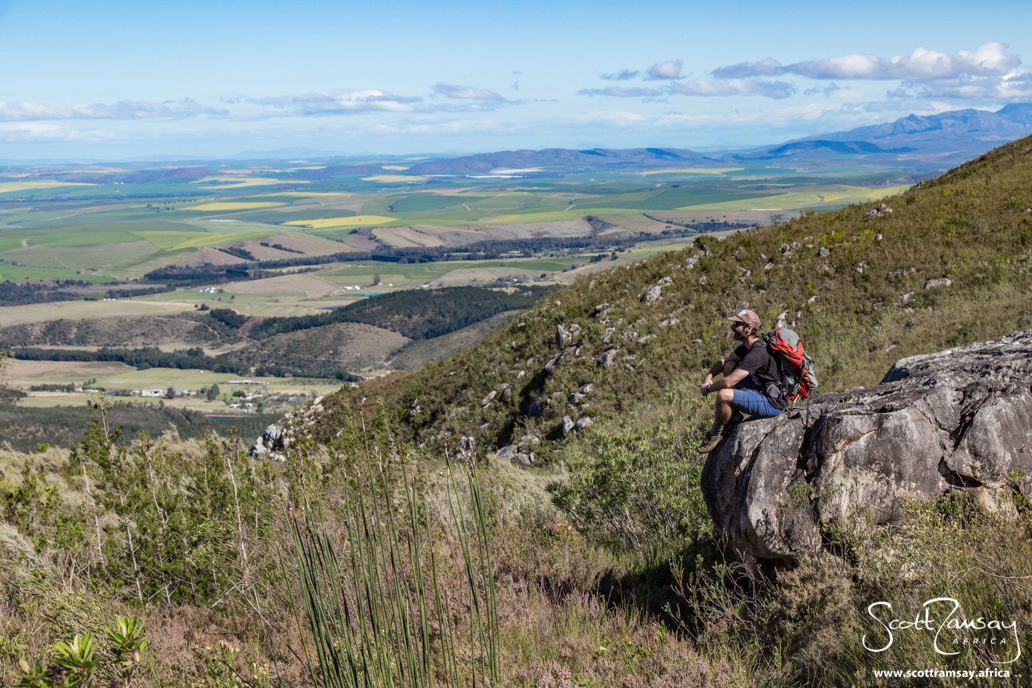 Tim looking out south over the Overberg, the farming region that lies around Swellendam, south of Marloth.