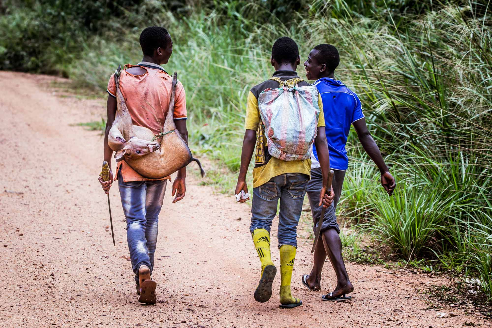 Three young men on a public road near Odzala-Kokoua National Park. The man on the left is carrying a duiker antelope which he had caught in a snare.